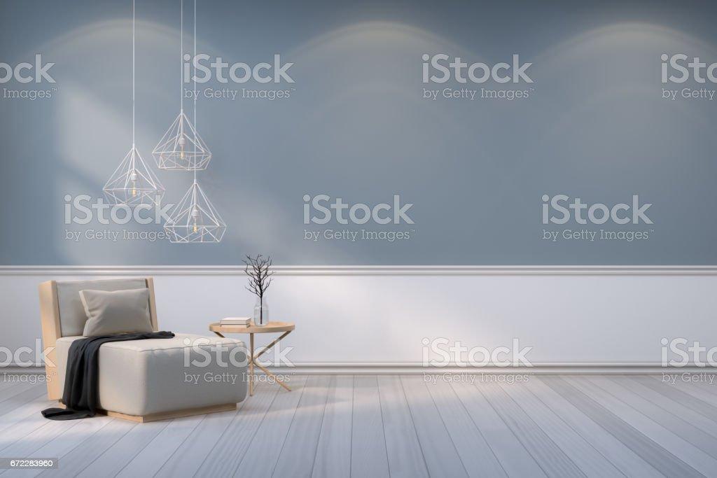 Minimalist Room Interiorwood Armchair With White Lamp On Gray Wall