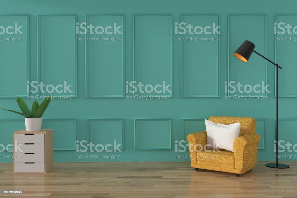 Minimalistische sofa loft innenarchitektur in weiche grüne wand und