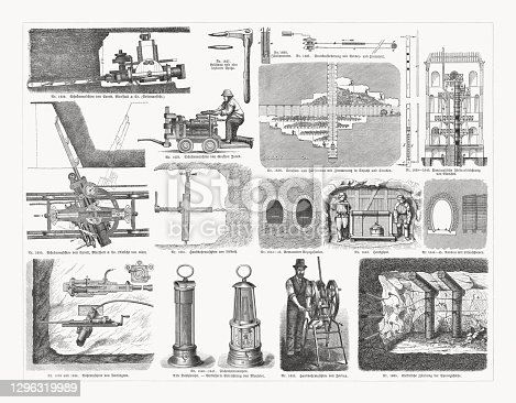 istock Mining equipment in the 19th century, wood engravings, published in 1893. 1296319989