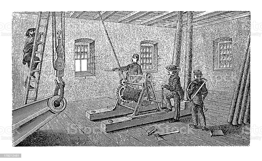 Mining Reel Antique Mechanic Illustrations Stock Illustration