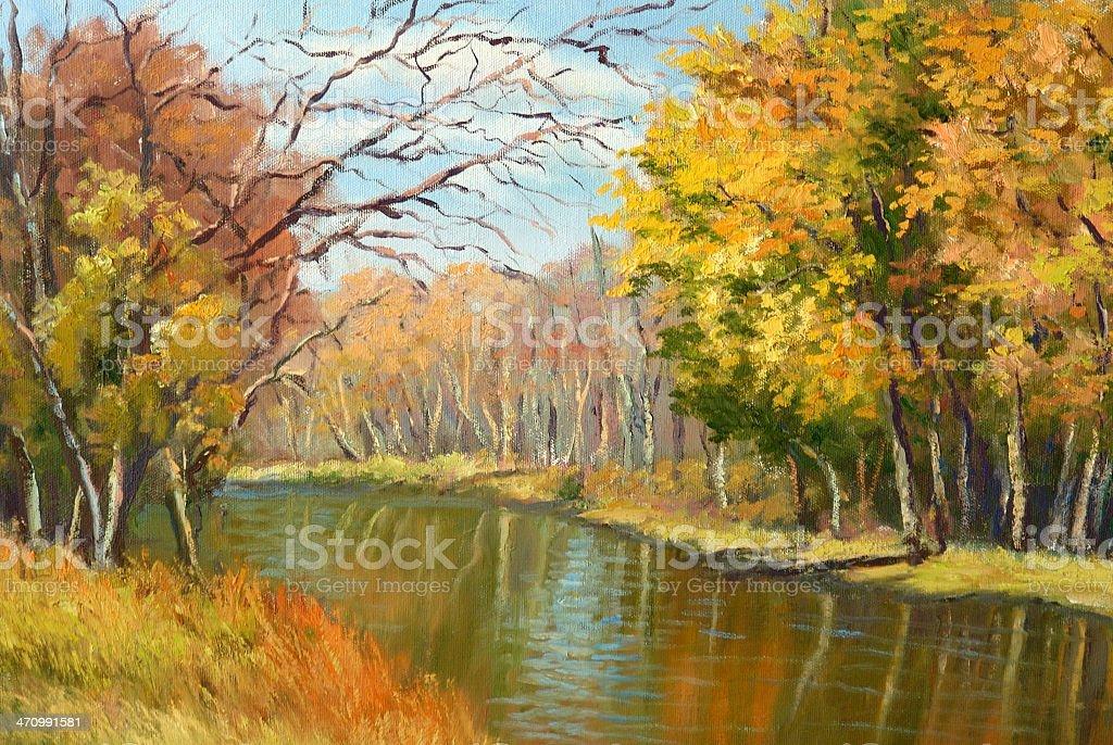 Minnesota Autumn Oil Painting vector art illustration