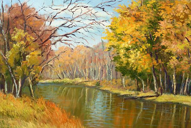 minnesota autumn oil painting - oil painting stock illustrations