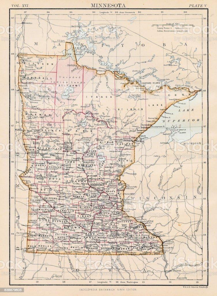 Minnesota map 1883 vector art illustration