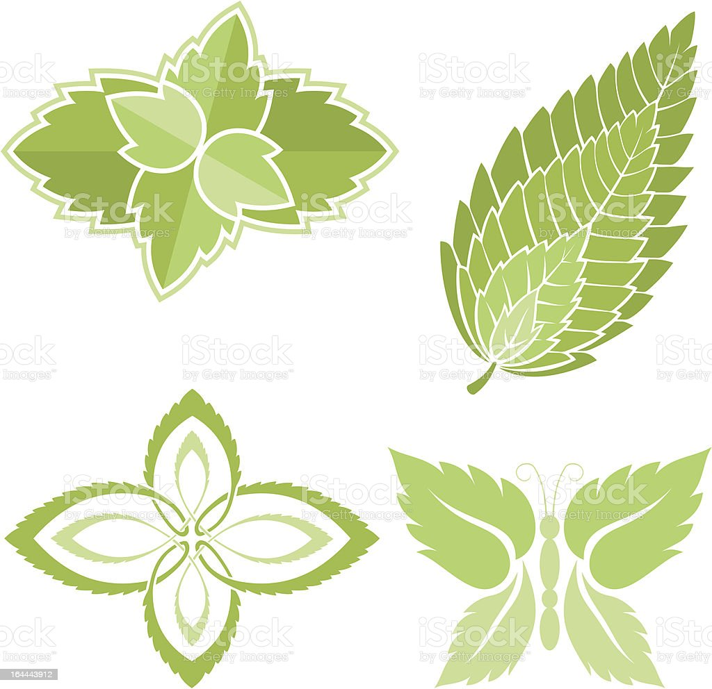 Mint leaves icons royalty-free stock vector art