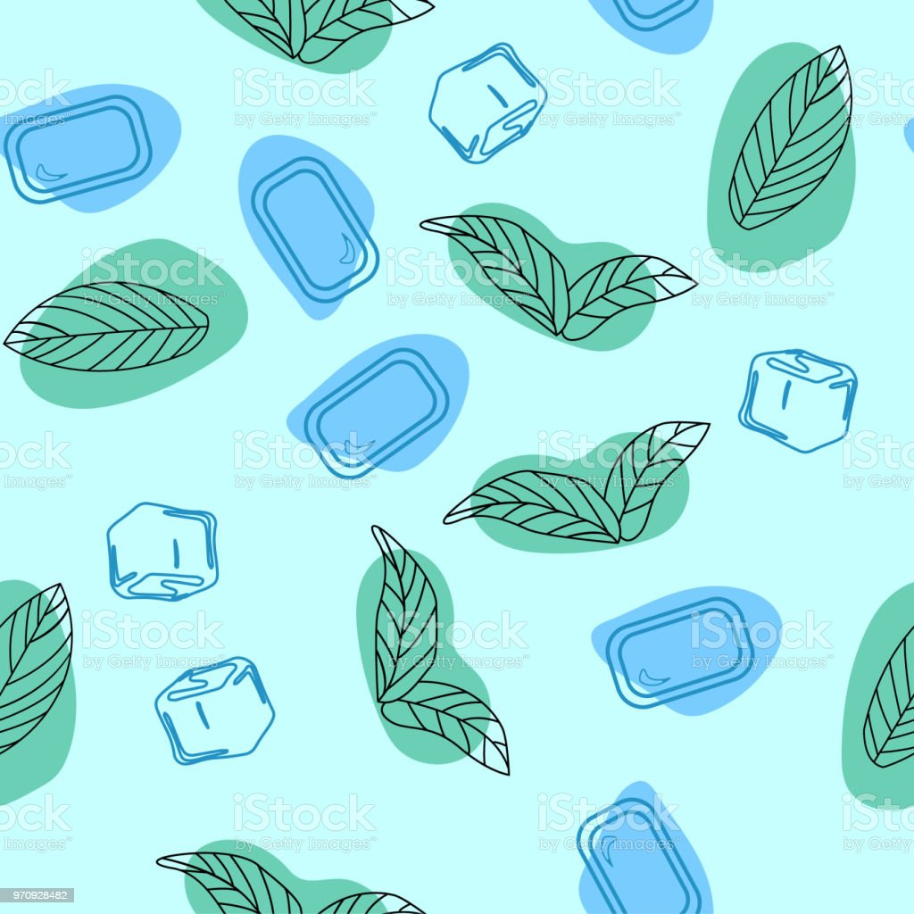 Mint Leaves Peppermint With Mint Candy Hand Drawn Vector Seamless ...