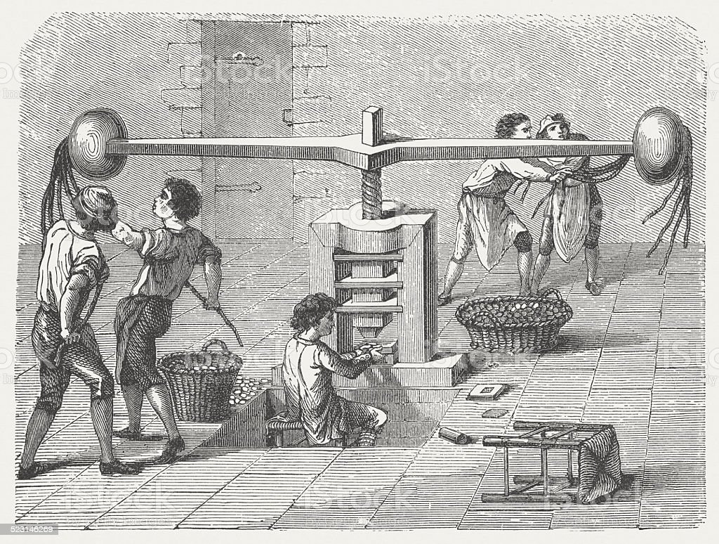 Minting Of Coins With An Old Minting Machine 18th Century Stock