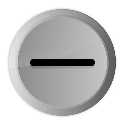 Minus icon metal silver round button metallic design circle isolated on white background black and white concept illustration