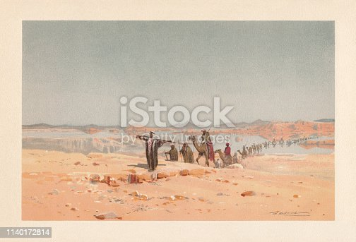 istock A mirage in the desert, chromolithograph, published in 1898 1140172814