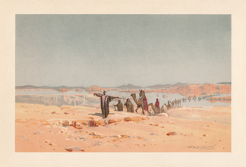 A mirage in the desert, chromolithograph, published in 1898