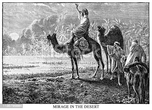 Mirage in the desert - Scanned 1890 Engraving