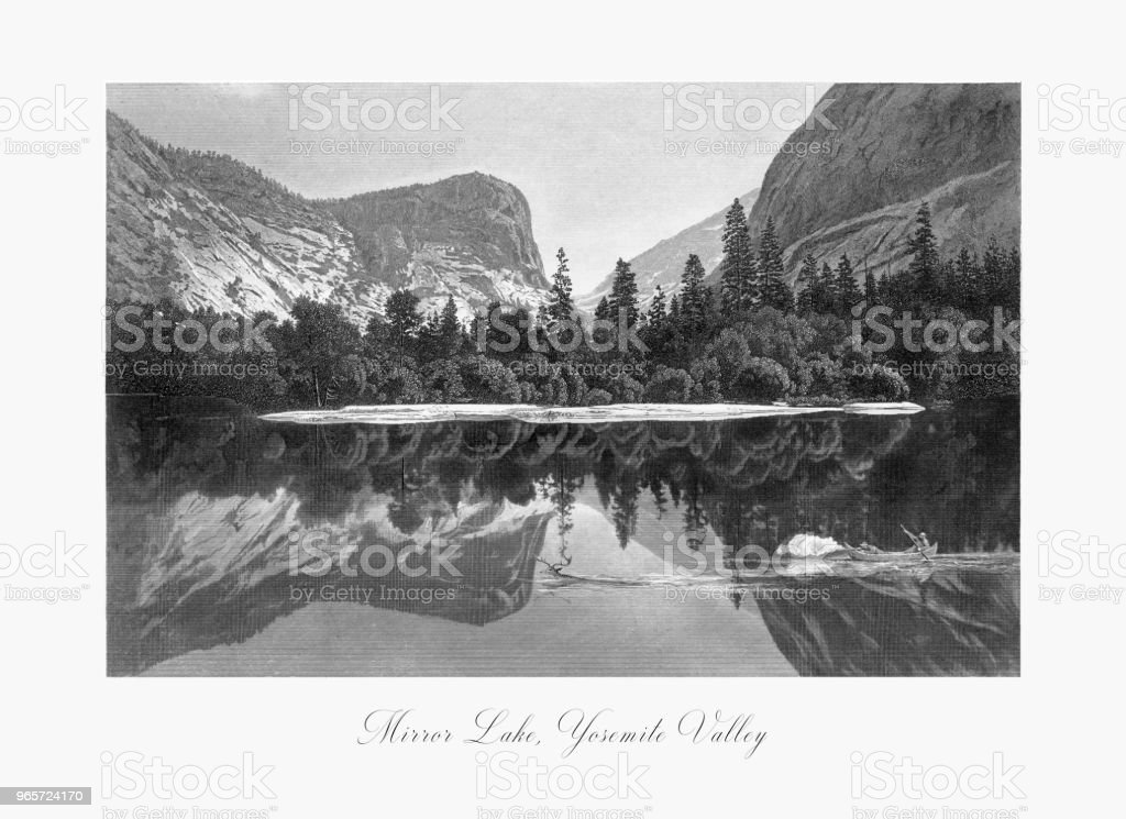 Mirror Lake, Yosemite Valley, Yosemite National Park, Sierra Nevada, California, American Victorian Engraving, 1872 - Royalty-free 1870 stock illustration