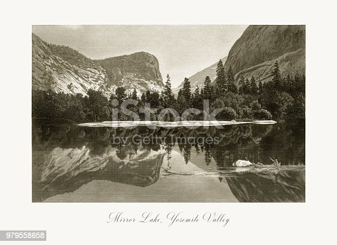 Very Rare, Beautifully Illustrated Antique Engraving of Mirror Lake, Yosemite Valley, Yosemite National Park, Sierra Nevada, California, American Victorian Engraving, 1872. Source: Original edition from my own archives. Copyright has expired on this artwork. Digitally restored.