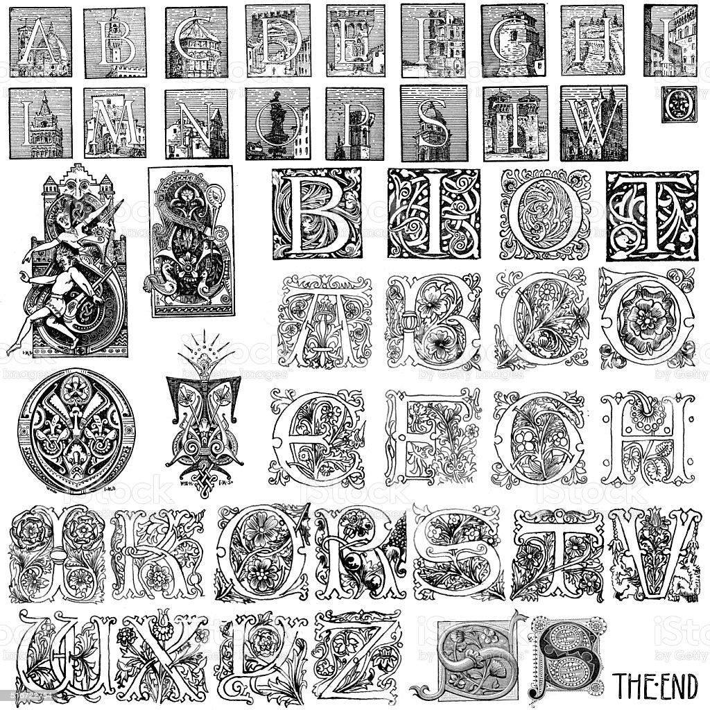 Miscellaneous retro vintage capital letters vector art illustration