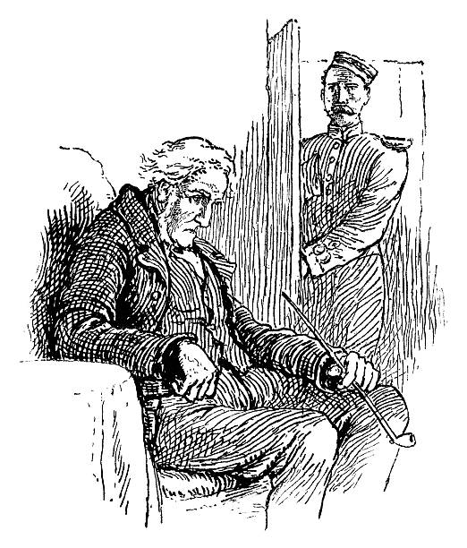 miserable old victorian man with a clay pipe - old man smoking pipe drawing stock illustrations, clip art, cartoons, & icons