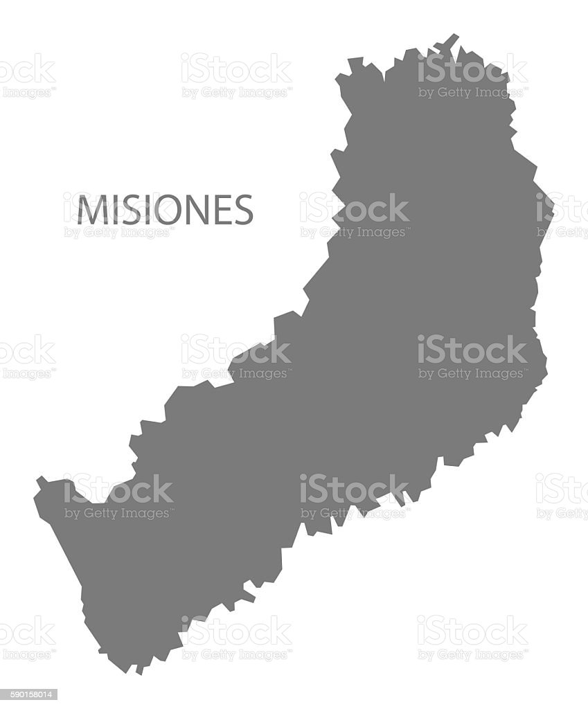 Misiones Argentina Map Grey Stock Vector Art IStock - Argentina misiones map