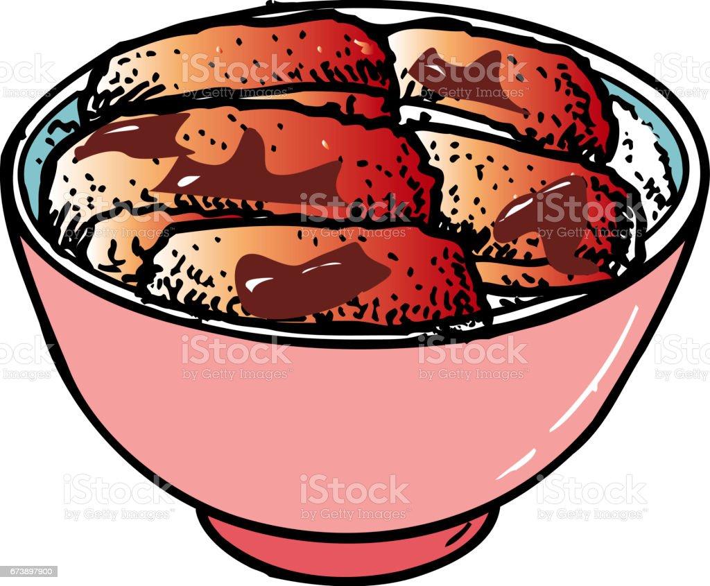 Miso katsudon miso katsudon – cliparts vectoriels et plus d'images de aliment libre de droits