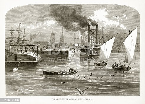 Very Rare, Beautifully Illustrated Antique Engraving of Mississippi River at New Orleans, Louisiana, United States, American Victorian Engraving, 1872. Source: Original edition from my own archives. Copyright has expired on this artwork. Digitally restored.