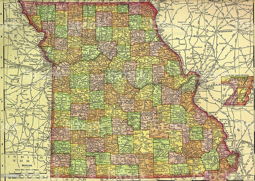 Missouri Old Map vector art illustration