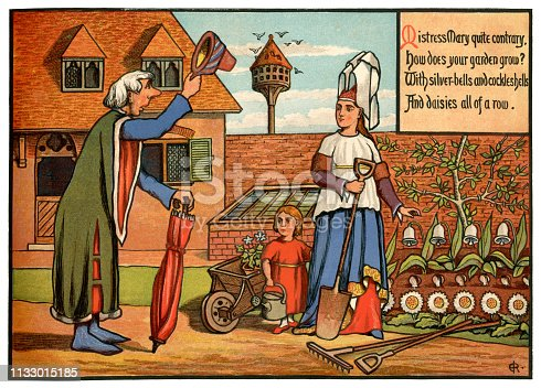 """Dressed in medieval style, Mistress Mary is tending her garden when she is greeted by a man who doffs his hat and enquires as to the fertility of her plants. """"Mistress Mary quite contrary - How does your garden grow - With silver-bells and cockle shells - And daisies all of a row."""" From """"Nursery Rhymes - Ridicula Rediviva"""" illustrated by J.E. Rogers, with chromolith printing by R. Clay Sons & Taylor and published in London in 1876 by Macmillan and Co."""