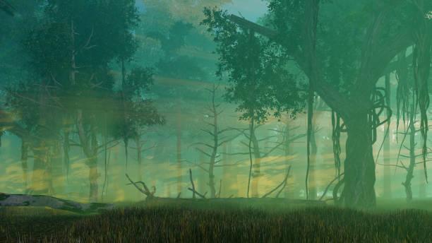 暗い神秘的な森の中で霧の夕暮れ ベクターアートイラスト