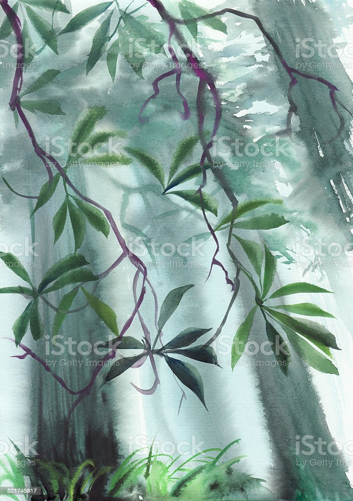 Misty trees vector art illustration