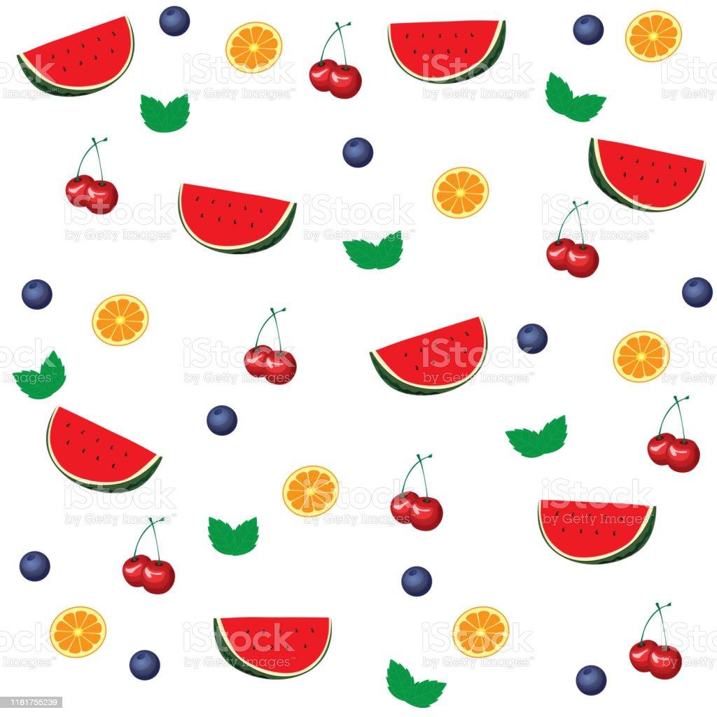 フルーツの壁紙と背景パターンをミックス イチゴのベクターアート素材や画像を多数ご用意 Istock