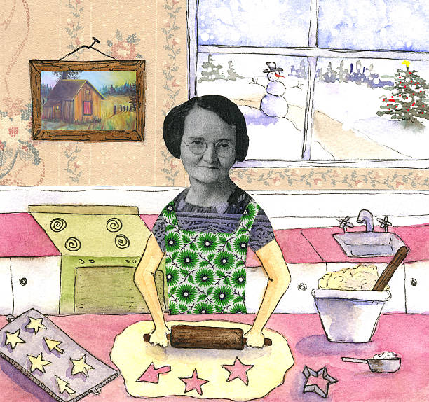 mixed collage of woman making cookies - woman cooking stock illustrations