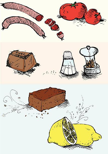 bildbanksillustrationer, clip art samt tecknat material och ikoner med mixed ingredients - brownie