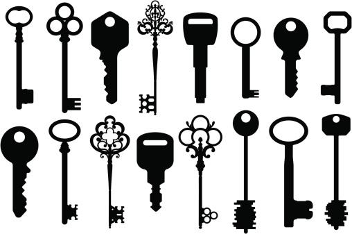 Set of design elements - Keys Silhouettes