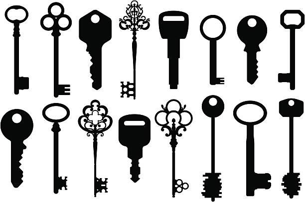 mieszane klucze sylwetki - klucz stock illustrations