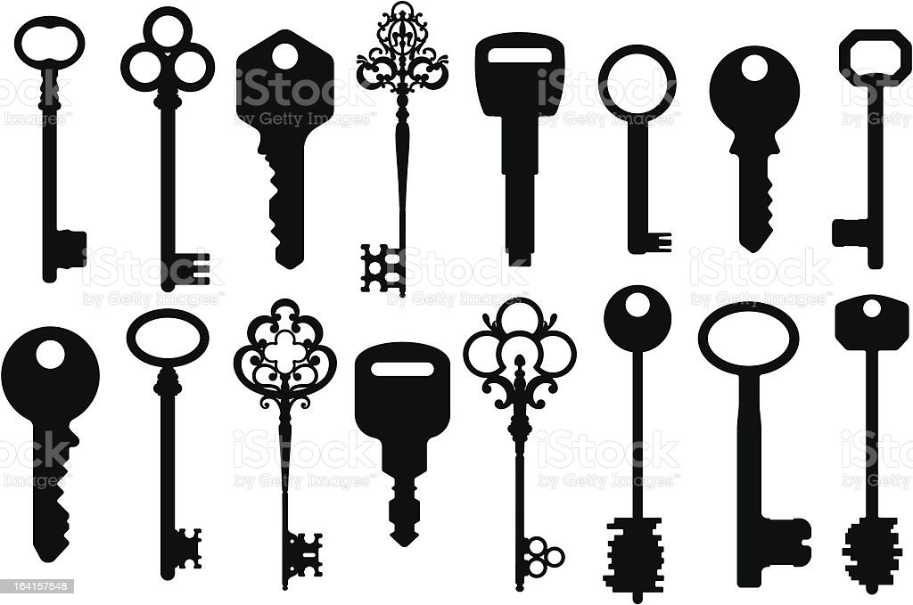Mixed Keys Silhouettes vector art illustration