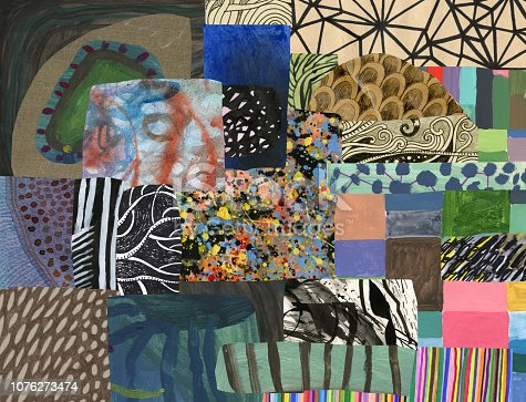 Collage of mixed media patterns/artworks