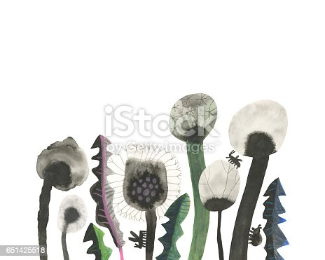Hand drawn dandelions and insects on white background