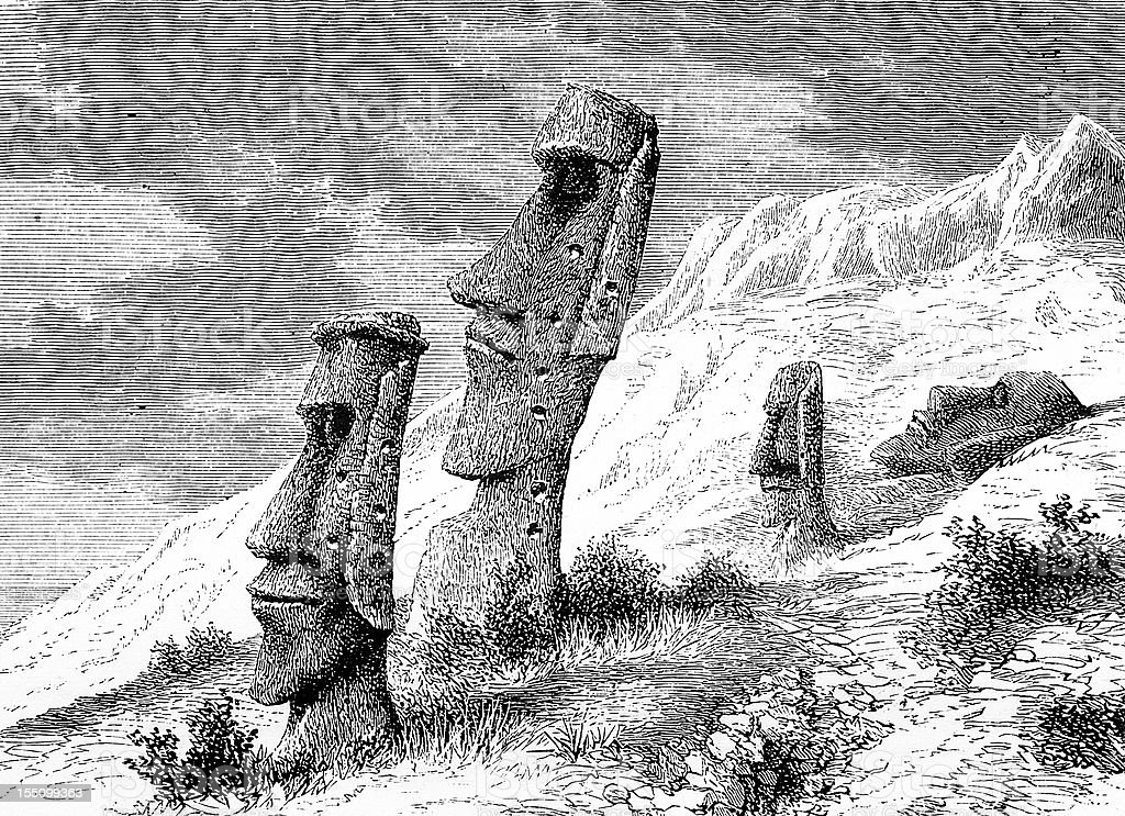 Moai on Easter Island vector art illustration