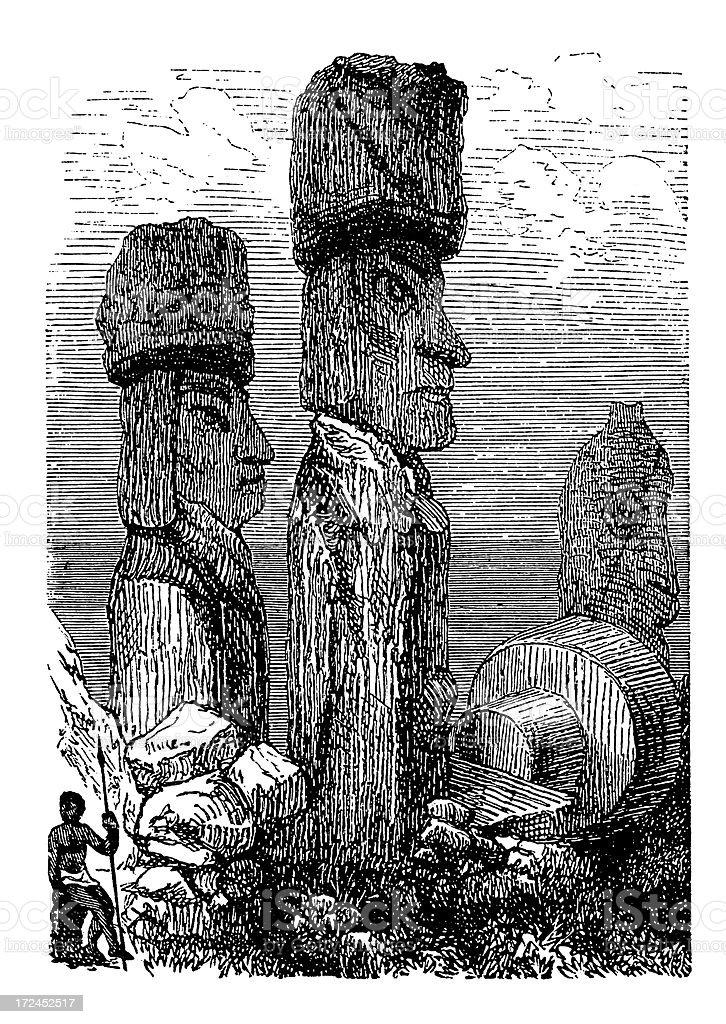 Moai on Easter Island (antique wood engraving) vector art illustration