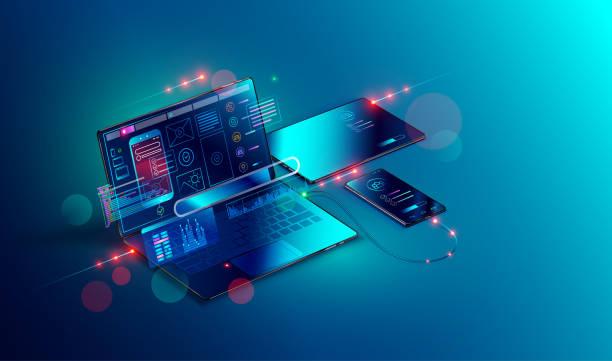 Mobile app development and design. Sketch layout of mobile application debug on smartphone and tablet. vector art illustration