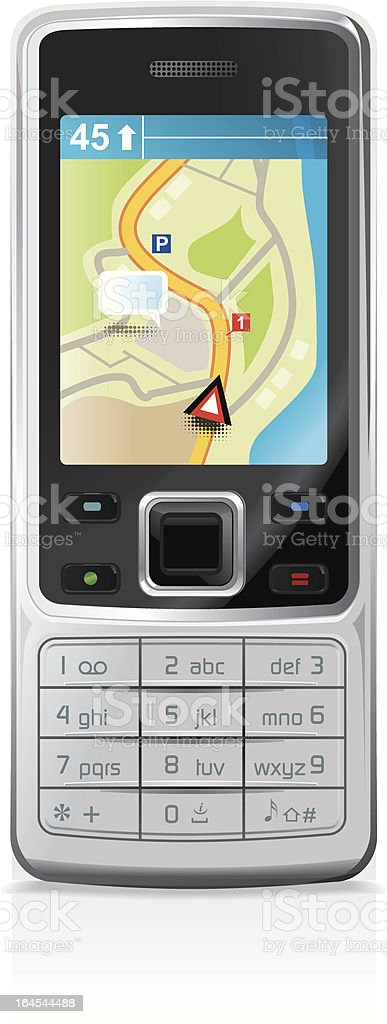 Mobile phone with GPS vector art illustration