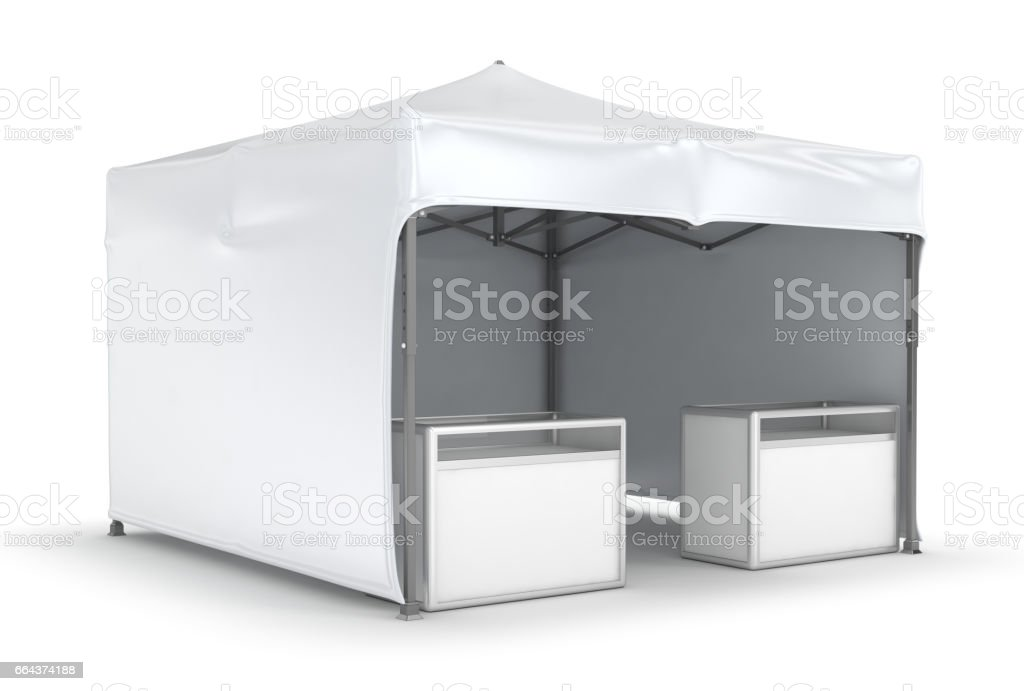 Mobile tent advertising marquee with counter vector art illustration