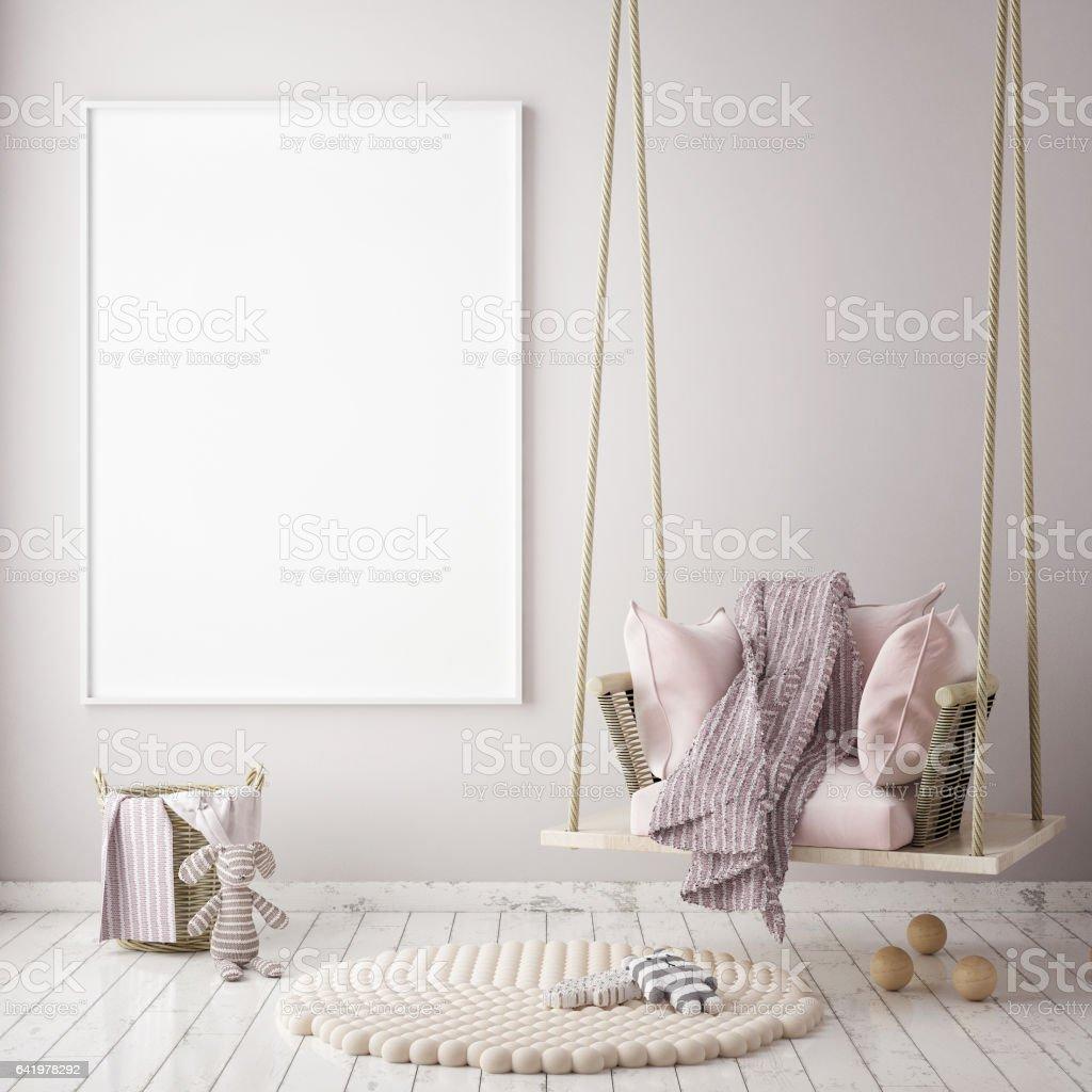 se burlan del marco del cartel en niños fondo interior de dormitorio de estilo escandinavo, 3D render - ilustración de arte vectorial