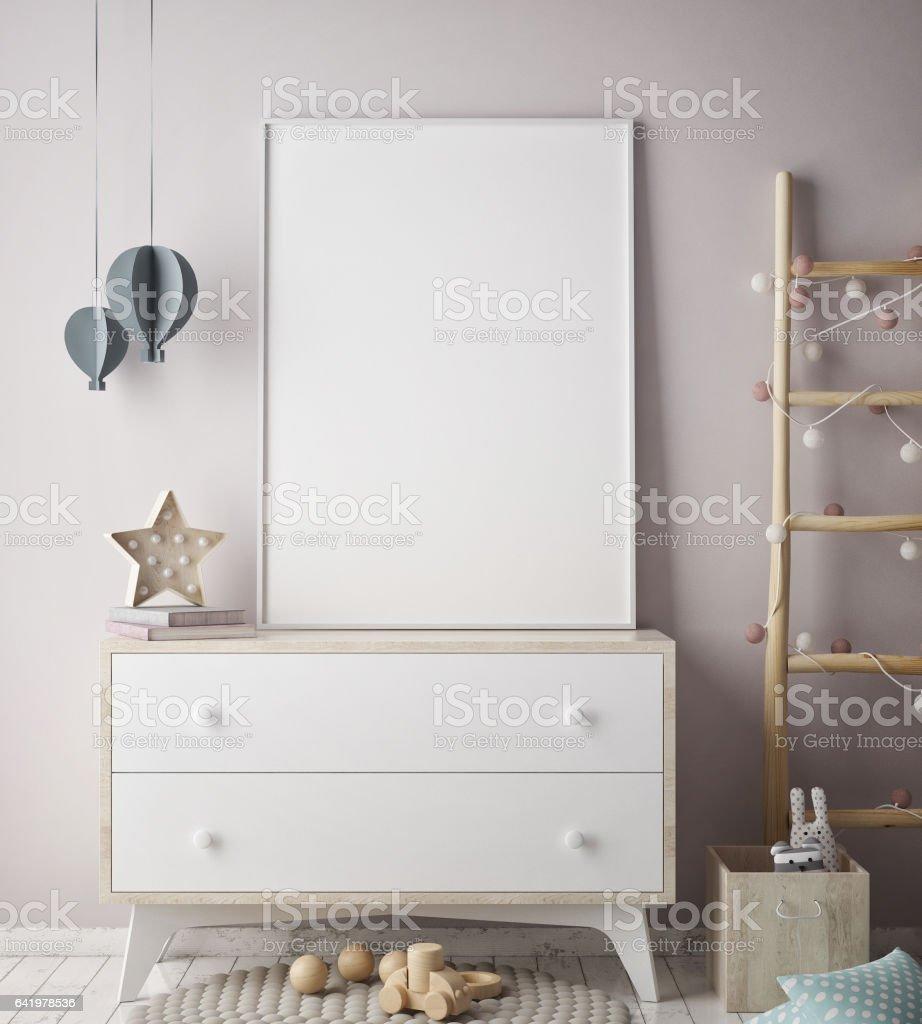 mock up filmposter bij kinderen slaapkamer scandinavische stijl interieur achtergrond 3d render royalty free