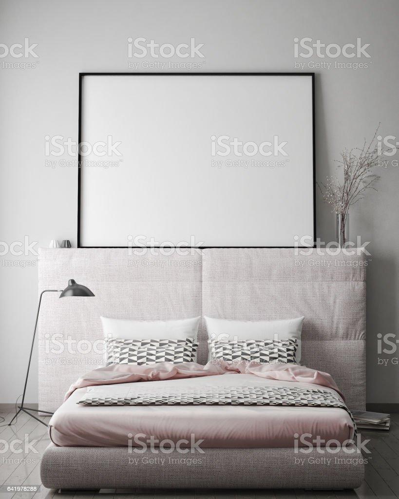 Mockup Posterrahmen Hipster Schlafzimmer Inneren Hintergrund ...