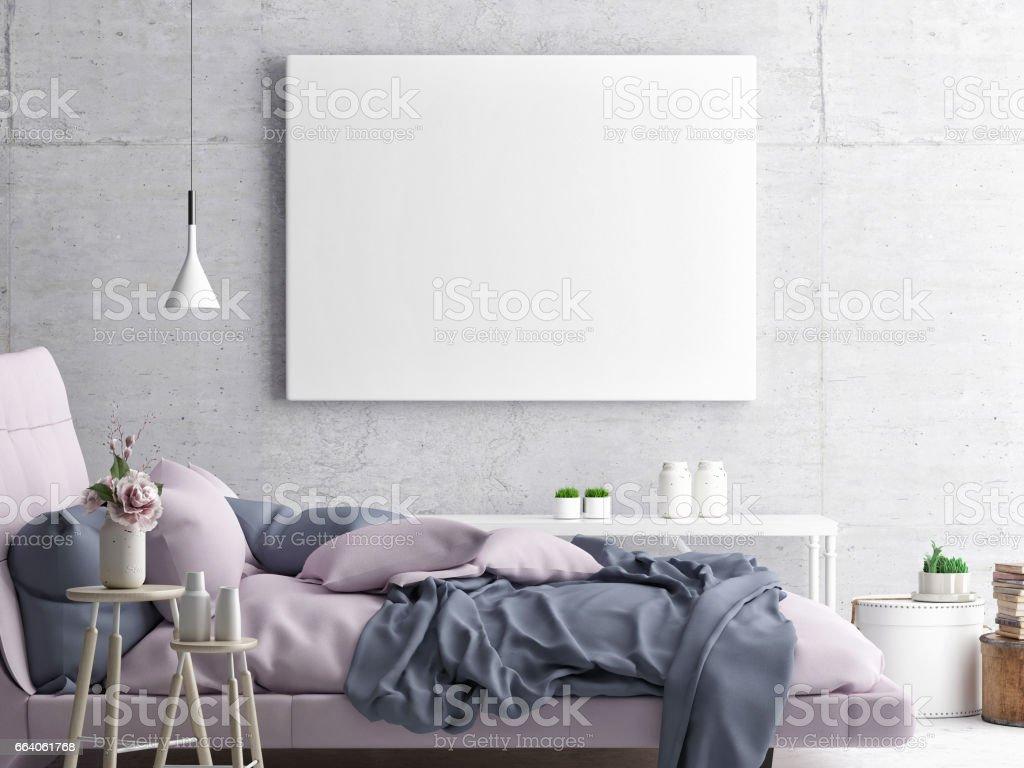Mock up poster, hipster bedroom, vector art illustration