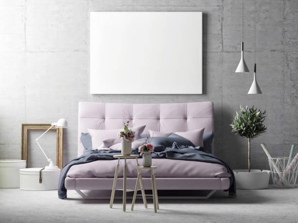 Mock up poster, hipster bedroom Mock up poster, hipster bedroom, 3d illustration bedroom borders stock illustrations