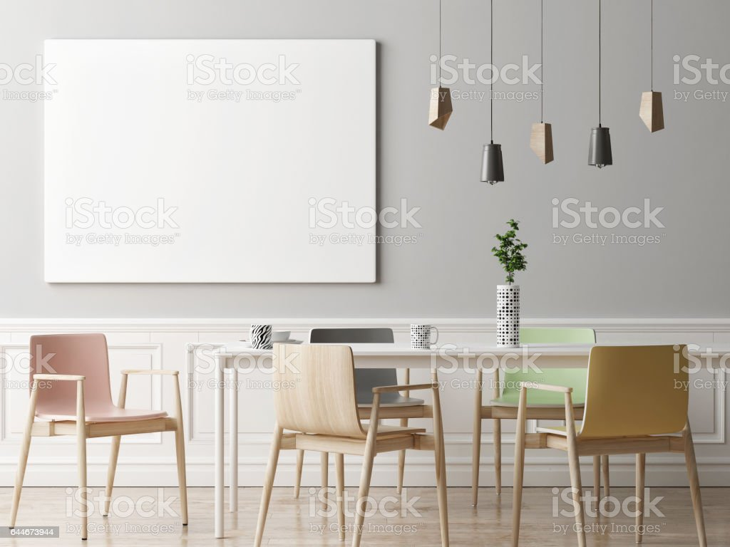 Mock Up Poster In Dining Room Hipster Background Lizenzfreies