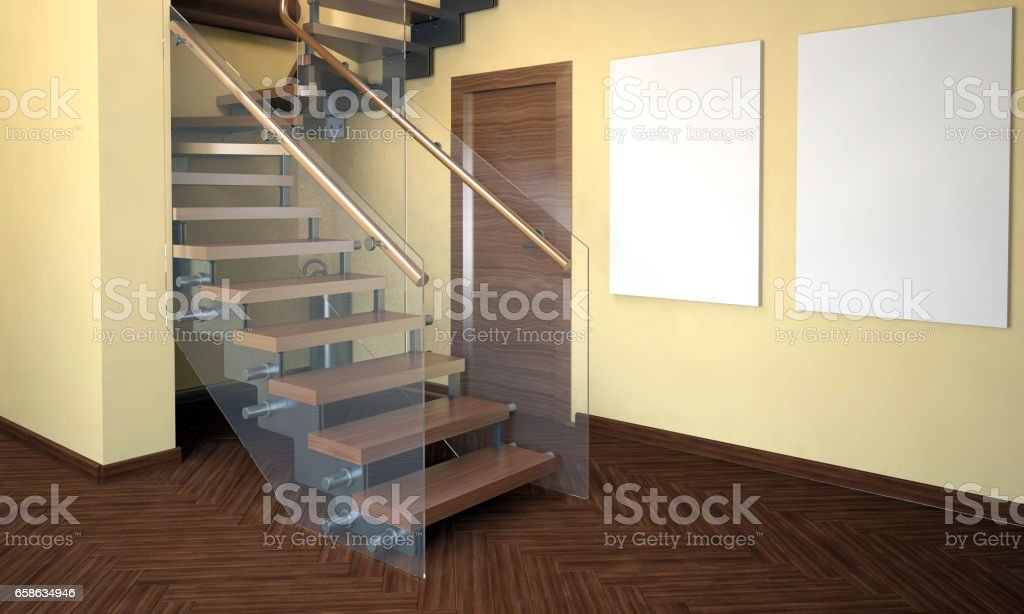 Mock Up Poster In Interior With Stairs Living Room Hipster Style 3d