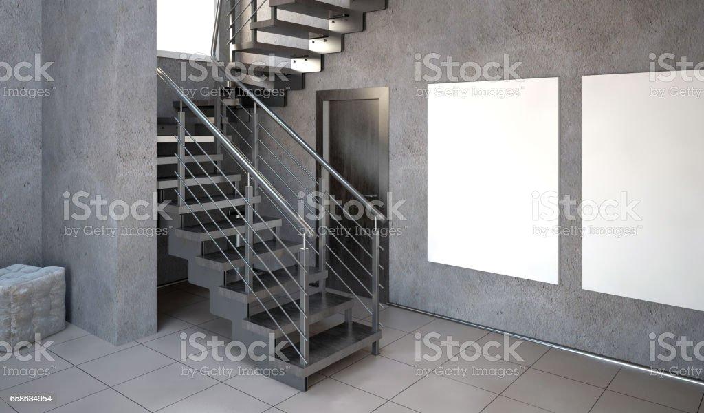 Mock up affiche à l'intérieur avec des escaliers. style hipster salon. Illustration 3d - Illustration de Acier libre de droits