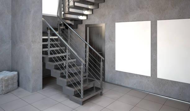 illustrations, cliparts, dessins animés et icônes de mock up affiche à l'intérieur avec des escaliers. style hipster salon. illustration 3d - architecture intérieure beton