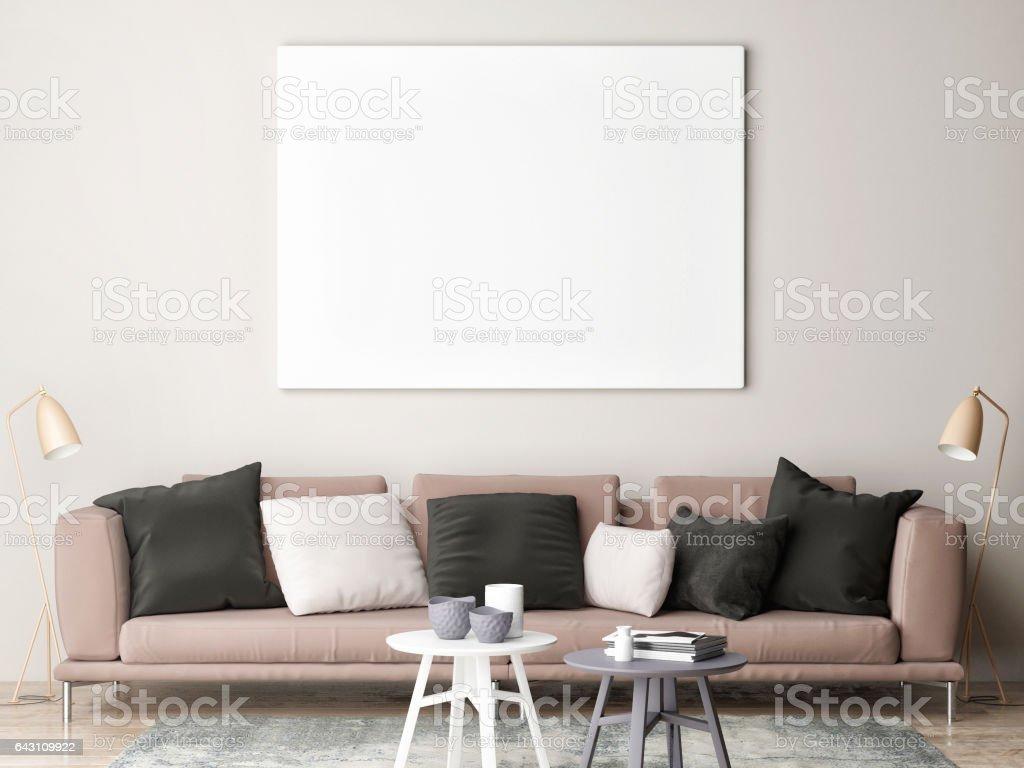 Mock up poster in loft vector art illustration