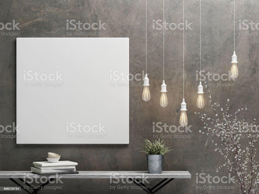 Mockup poster mit vintage hipster minimalismus innenraumkonzept