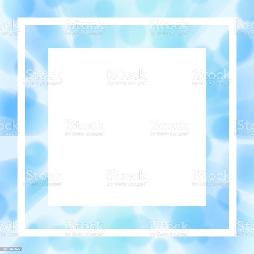 Mock Up Soft Blue Template Square White Text Box Thin Frame Blurred ...